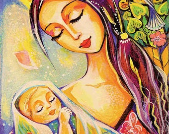 Mother child painting, tree of life, folk art, motherhood, newborn baby, nursery decor, mother son, feminine decor print 7x12+