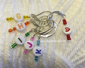 Crochet Stitch Markers, Set of 6, Hook Reminders, Beaded Stitch Marker, Multi colored, Stitch Marker, crochet accessories