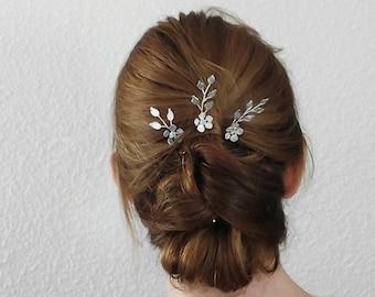 Leaf Bridal Hair Pins Wedding Hair Pins Bridal Hair Pieces, Silver Hair Pins Hair Pins Wedding, Leaf Wedding Hair Pieces Bridal hair pins
