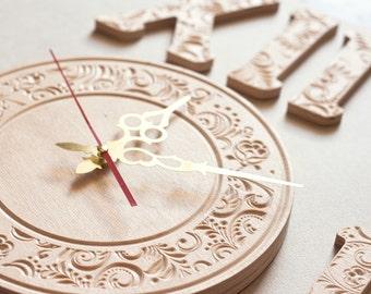 Elegant large clock,wall home decor,hanging,personalized,clock,distressed,rustic wall clock,roman clock wall,modern clock,Valentine Day gift