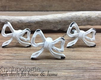 """SET OF 3 - White Distressed Metal Bow Knob - 1.5"""" Ribbon Bow Drawer Pull - Whimsical Baby Girl Nursery - Cabinet Decor"""