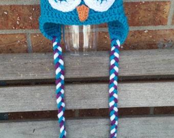 Owl Hat, Crochet Owl Beanie, Made to Order