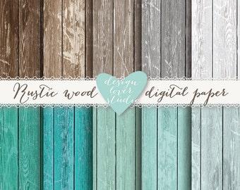 Premium Wood backround digital papers, rustic, digital papers, wood texture, distressed wood teal, brown, grey, digital wood background