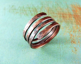 Wire Wrapped Ring Copper Ring Adjustable Ring Size 10 Wire Wrapped Jewelry Copper Jewelry Copper Wire Wrap Coil Ring Custom Ring