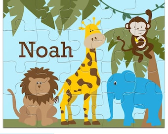 Personalized Jungle Puzzle for Kids - Animal Jigsaw Puzzle with Child's Name, 20 pieces, 8 x 10 inches