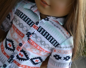 18 inch Doll Clothes - Southwest Stripes Button Down Shirt - NAVY AQUA WHITE Peach - fits American Girl