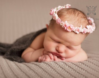 Handmade Pink and White Flower Crown Halo Tieback Newborn Baby Photography Photo Prop or Flower Girl Hair Accessory