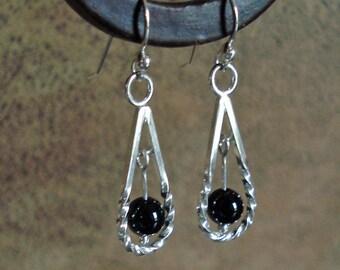 Sterling Drop Twist Earrings with Black Onyx