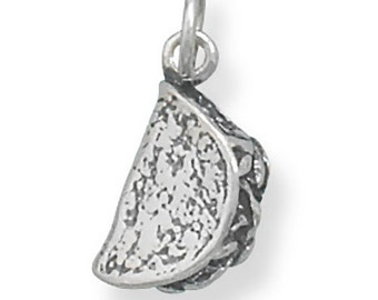Sterling Silver Taco Charm Pendant 3D Tortilla with Stuffings Food