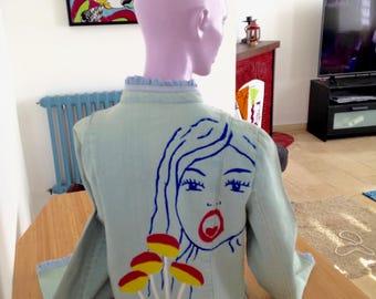 artistic vintage faded denim jacket