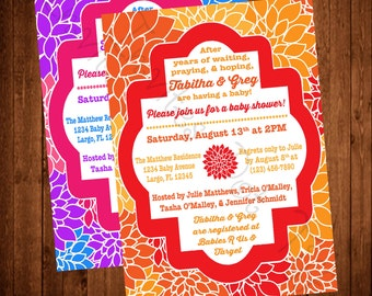 Bright Flowers Baby Shower Invitation Printable (Two Color Options Available!)