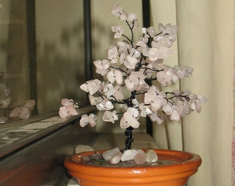 Rose Quartz with Peridot Gemstones Handmade Tree~ One of a Kind ~for Home Office or Gift