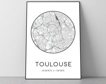 Toulouse City Map Print   Toulouse poster, Toulouse map art, Toulouse wall art print, Toulouse gift, Toulouse map print