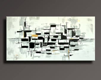 "48"" Large Original ABSTRACT Painting on Canvas Contemporary Modern Art BLACK WHITE Gray Gold wall art Home decor #ABBW45i2"