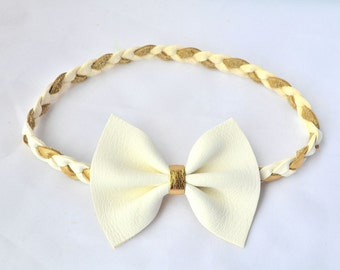 White Leather Bow Gold and White Leather Braided Headband Newborn Baby Child Adult Photo Prop Headwrap Spring Summer Beautiful Bow