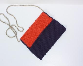 purple orange clutch with beaded chain