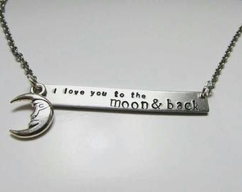 I love you to the moon and back bar necklace with moon charm - mother's day gift - necklace for daughter - Easter gift for her