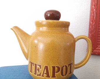 Vintage Pottery Teapot with the word TEAPOT on front ~ warm caramel and Brown