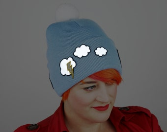 Reflective Safety Beanie Cap, Lightning and Clouds, with or without Pom Pom