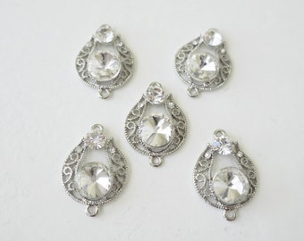 5 Crystal Drop Connectors Vintage style clear rhinestone silver charm pendants earrings 1""