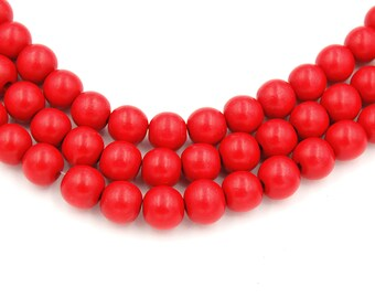 Bright Red Wood Round 8mm, Chili Red Boho Wood Beads -16 inch strand