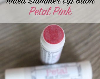 Tinted Lip Balm - Petal Pink Kiss of Color - Sweet Mint - Naturally SPF - Sun Protectant - Moisturizing - All Natural