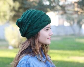 Knitted hats women, Green slouch hat, Emerald Green slouchy beanie hat - Bonnet femme tricot laine