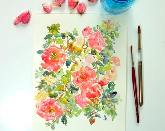 In A Rose Mood, Watercolor Fine Art Print, Watercolor Roses, Pink Roses, Watercolor Flowers