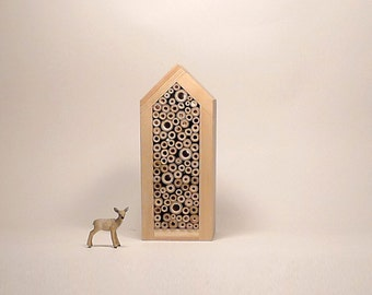 Solitary bee house, insect house, wild bee house, minimalist eco friendly woodland design garden gift, simple eco friendly design for garden