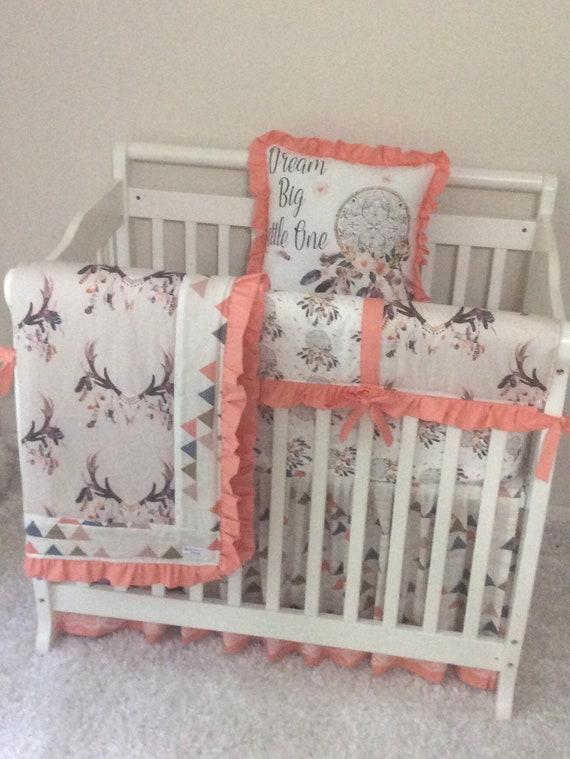 baby girl mini crib bedding tan peach coral blue boho. Black Bedroom Furniture Sets. Home Design Ideas