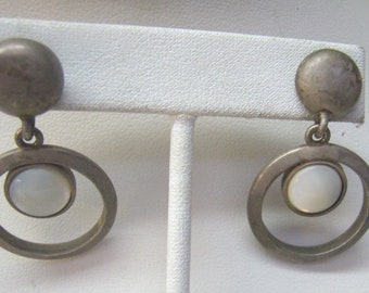 "Vintage Myka Moonstone Brass Metal Earrings...Designer ""MYKA""...Post Back Dangle Earrings"
