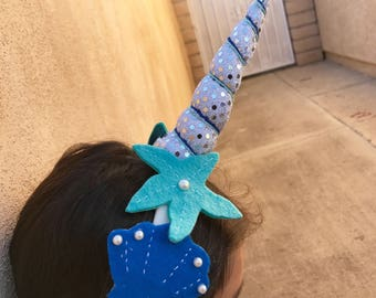 Narwhal (sea unicorn) headband