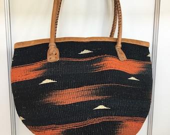 Vintage sisal market bag - medium tote bag