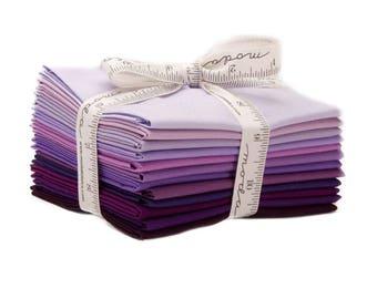 Fat Quarter 12-Piece Bundle Plus Color of Moda Pattern, Bella Solids in Purple, Precut Fat Quarters from Moda
