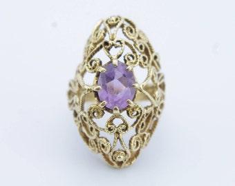 Victorian 14K Yellow Gold Amethyst Filigree Ring