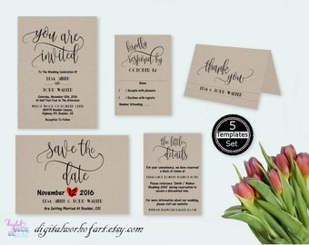 Rustic Wedding Invitation Template, You Are Invited, DIY Wedding Invitation Set Suite, Wedding Invitation Set, editable PDF template