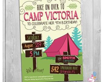 Girls Camp Invitation Camping Invitations Girls Camping Invitation Girl Camping Birthday Invitation Girls Camp Invite Printable Digital