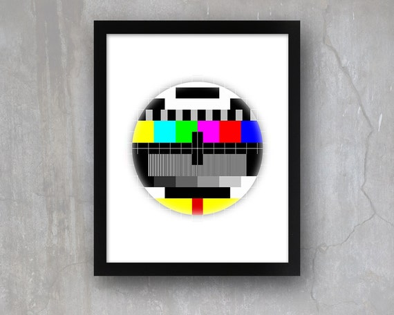 Cool Retro Tv Test Pattern 5 x 7 or 8 x 10 PHYSICAL Wall Art