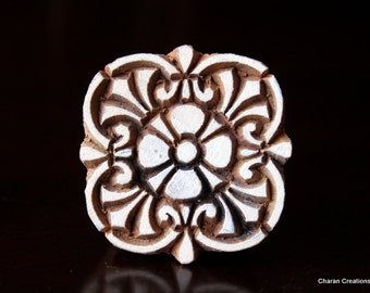 Pottery Stamps, Indian Wood Stamp, Textile Stamp, Wood Blocks, Tjaps, Printing Stamp- Art Nouveau Floral Motif