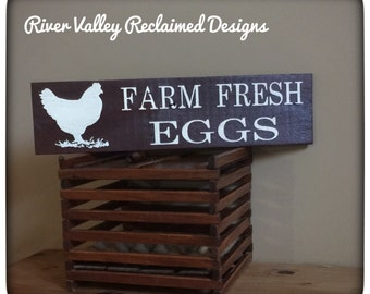 Farm Fresh Eggs Sign, Farmhouse Kitchen Sign, Chicken Coop Sign