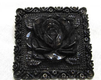 Vintage Black Celluloid Brooch Molded Rose Pin