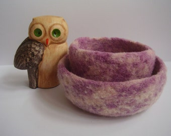 felted wool bowls set of  2  lilac and cream containers