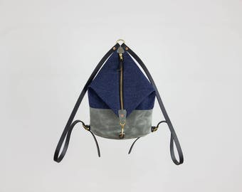 Leather Backpack - Dark Denim and Grey Leather Mini Backpack - Canvas Backpack - Backpack Purse - Leather Bag - Purse