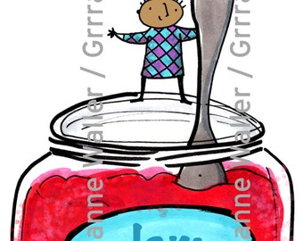 People with food: jam jar digital printable clipart