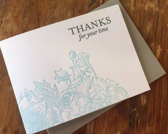 Letterpress Thank You Card, Floral Thank You Note, Cute Thank You Note, Unique Thank You Card