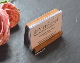 Rustic Wooden Business Card Holder | Craft Fair | Stand | Hand Made | Reclaimed Wood | Desk | Traditional Georgian Medium Oak | POS Display