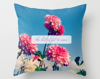 Throw Pillow Case, Pink, Flowers, Nature, Dahlias, Home Decor, Photography by RDelean Designs