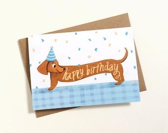 Sausage Dog Birthday Card - Dachshund Card, Dog lover, Best friend, Cute greetings card