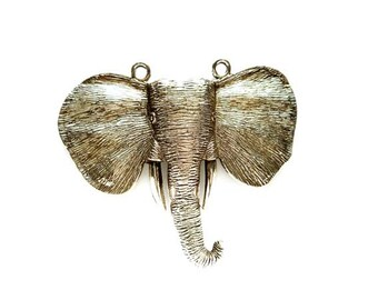 1 Antique Silver Elephant Head Pendant/Connector - 20-33-1