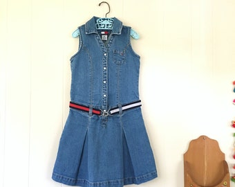 1990's tommy hilfiger sleeveless denim dress with belt - size 6x